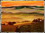 Vineyards Mixed Media - Tuscany by Craig Nelson