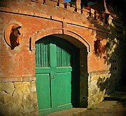 Tuscany Door With Horse Head Carvings Print by John Malone
