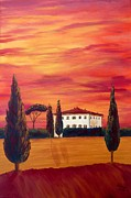 Tuscan Sunset Painting Metal Prints - Tuscany in red Metal Print by Christine Huwer