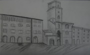 Buildings Drawings - Tuscany Village Street Drawing by Christiane Schulze
