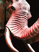 Big Al Mixed Media Posters - Tusk 4 - Red Elephant Art Poster by Sharon Cummings