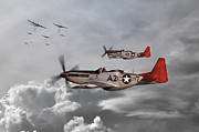 North American P51 Mustang Digital Art Posters - Tuskegee Airmen Poster by James Biggadike