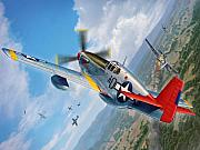 Mustang Posters - Tuskegee Airmen P-51 Mustang Poster by Stu Shepherd