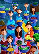 Women Painting Prints - Tutti Frutti Print by Paul Hilario
