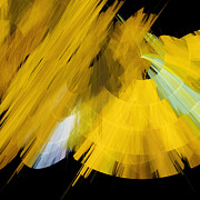 Event Mixed Media Posters - TuTu Stage Left Abstract Yellow Poster by Andee Photography