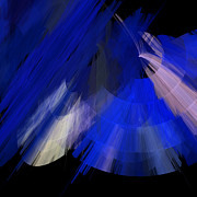 Ballerinas Mixed Media Posters - TuTu Stage Left Blue Abstract Poster by Andee Photography