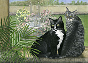 Tuxedo Cat Painting Framed Prints - Tuxedo and Tabby Framed Print by Terry Albert