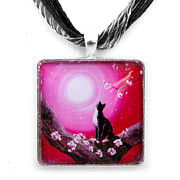 Cat Jewelry - Tuxedo Cat in Cherry Blossoms Pendant by Laura Iverson
