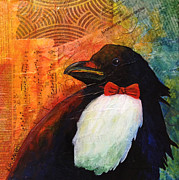 One Animal Painting Posters - Tuxedo Crow Poster by Kerrie  Hubbard