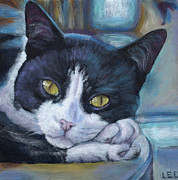 Tuxedo Cat Painting Framed Prints - Tuxedo Kitty Framed Print by Linda Evans Davis