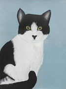 White Pastels Metal Prints - Tuxedo Nellie Metal Print by Jeanne Fischer