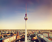 Alexanderplatz Prints - Tv tower or Fersehturm in Berlin Print by Michal Bednarek