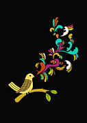Vintage Digital Art Metal Prints - Tweet tweet Metal Print by Budi Satria Kwan
