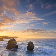 Stacks Posters - Twelve Apostles Sunrise Great Ocean Road Victoria Australia Poster by Colin and Linda McKie