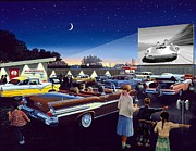 Drive In Painting Framed Prints - Twenty Minutes to Show Time Framed Print by Michael Swanson