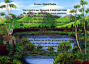 Calm Waters Digital Art Framed Prints - Twenty-Third Psalm and Twin Ponds Framed Print by Barbara Griffin