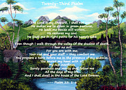 Inspirational Saying Prints - Twenty-third Psalm on Twin Ponds Print by Barbara Griffin