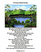 Landscape Mountain Trees Fisherman Art - Twenty-Third Psalm with Twin Ponds White by Barbara Griffin