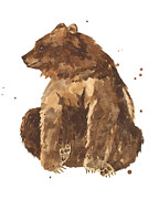 Brown Bear Paintings - TwiddleToes by Alison Fennell