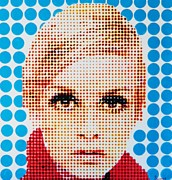 Twiggy Pop Art Paintings - Twiggy Blue dot  by Grant  Swinney