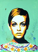 Twiggy Pop Art Paintings - Twiggy  by Grant  Swinney