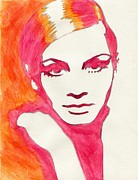 Twiggy Pop Art Paintings - Twiggy by Martha Cervantes
