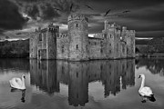 Castle. Birds Framed Prints - Twilight at Bodiam Castle Framed Print by Pete Reynolds
