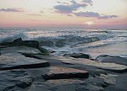 Seashore Digital Art Metal Prints - Twilight At Cape May in October Metal Print by Eric  Schiabor