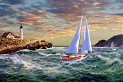 Docked Sailboats Prints - Twilight at Portland Print by Ronald Chambers