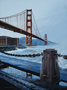 Red Point Paintings - Twilight at the Golden Gate by Lynette Cook