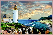 Nubble Lighthouse Digital Art Framed Prints - Twilight at Turnberry Framed Print by Ronald Chambers