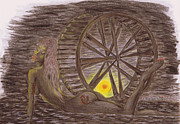 Wheel Drawings - Twilight Bather. by Kenneth Clarke