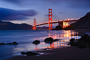 Jamie Pham Metal Prints - Twilight - Beautiful sunset view of the Golden Gate bridge from Marshalls Beach. Metal Print by Jamie Pham