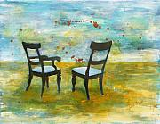 Abstracted Painting Framed Prints - Twilight - Chairs Framed Print by Deborah Allison
