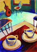 Two Coffee Cups Framed Prints - Twilight Coffee Cafe Framed Print by Frederick Luff  GALLERY