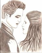 Twilight Drawings - Twilight Edward Bella by AR Annahita
