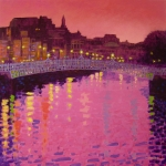 Metal Art Print Framed Prints - Twilight - Ha Penny Bridge Dublin Framed Print by John  Nolan