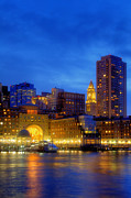 City Skylines Posters - Twilight in Boston Poster by Joann Vitali