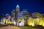 Charlotte Fine Art Framed Prints - Twilight in Charlotte Framed Print by Serge Skiba
