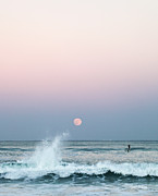 Sea Moon Full Moon Photo Prints - Twilight in Rose Print by Michelle Wiarda