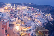 Fantastical Prints - Twilight in Santorini Print by Aiolos Greece Collection