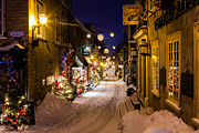Quartier Posters - Twilight in the Petit Champlain Poster by Dawna  Moore Photography