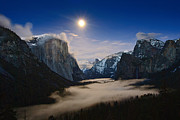 Jamie Pham Metal Prints - Twilight - Moonrise over Yosemite National Park. Metal Print by Jamie Pham