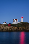 Keepers House Photos - Twilight Nubble Lighthouse by John Greim