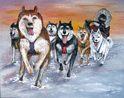 Huskies Painting Posters - Twilight on the Trail Poster by Karen Copley