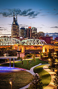 Lighted Street Prints - Twilight over Nashville Print by Brian Jannsen