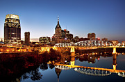 Nashville Tennessee Posters - Twilight over Nashville Tennessee Poster by Brian Jannsen