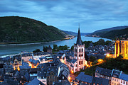 Rhine Valley Posters - Twilight Over the Rhine River Valley at Bacharach Germany Poster by Greg Matchick