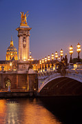 Streetlight Prints - Twilight - Pont Alexandre III Print by Brian Jannsen
