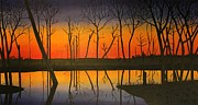 Indiana Autumn Painting Prints - Twilight Reflections Print by Lee Alexander
